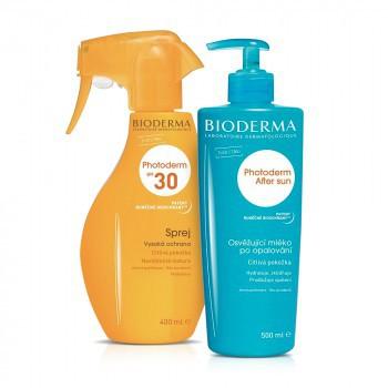 BIODERMA Photoderm BALÍK Sprej SPF30 + After sun sprej 400 ml + mlieko po opaľovaní 500 ml (ZĽAVA 80% ba druhý produkt), 1x1 set
